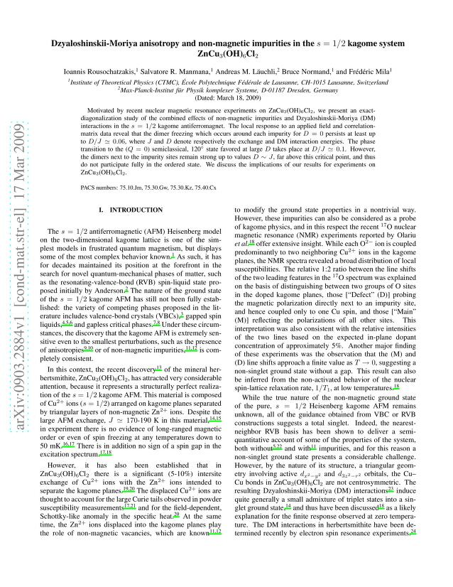 Ioannis Rousochatzakis - Dzyaloshinskii-Moriya anisotropy and non-magnetic impurities in the $s = 1/2$ kagome system ZnCu_3(OH)_6Cl_2