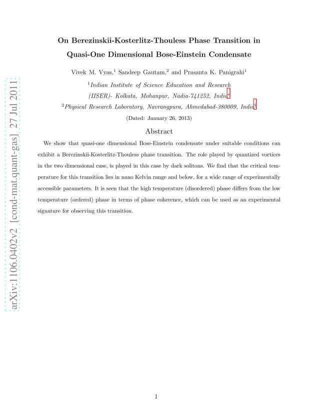 Vivek M. Vyas - On Berezinskii-Kosterlitz-Thouless Phase Transition in Quasi-One Dimensional Bose-Einstein Condensate