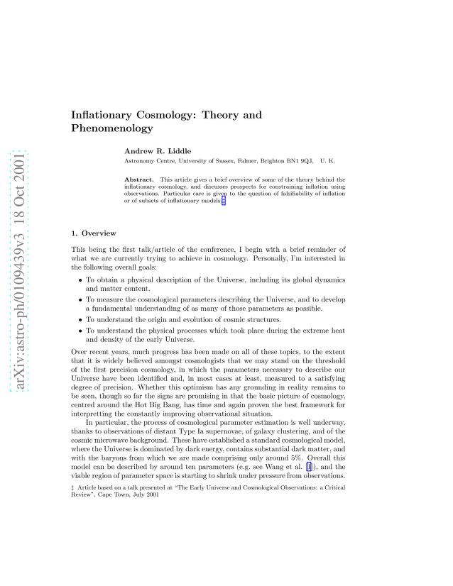 Andrew R Liddle - Inflationary Cosmology: Theory and Phenomenology