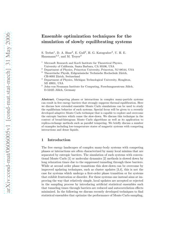 S. Trebst - Ensemble Optimization Techniques for the Simulation of Slowly Equilibrating Systems