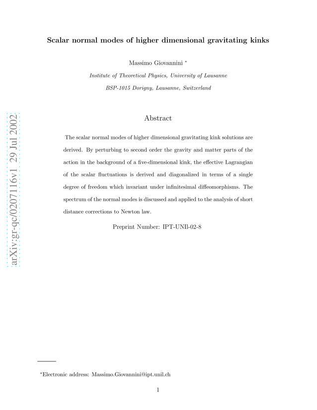 Massimo Giovannini - Scalar normal modes of higher dimensional gravitating kinks