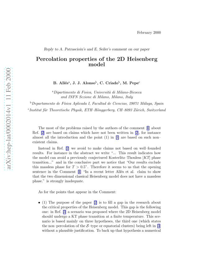 """B. Alles - Reply to A. Patrascioiu's and E. Seiler's Comment on our paper """"Percolation properties of the 2D Heisenberg model"""""""