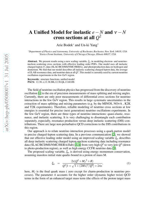 Arie Bodek - A Unified Model for inelastic e-N and nu-N cross sections at all Q2