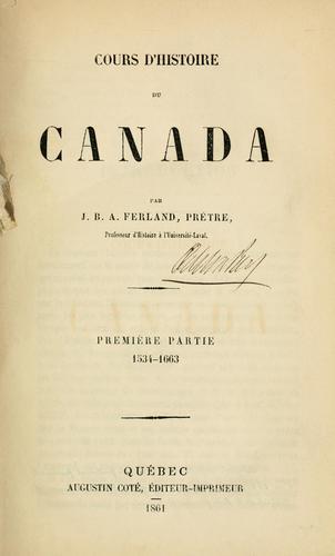 Download Cours d'histoire du Canada
