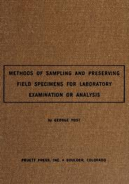 Cover of: Methods of sampling and preserving field specimens for laboratory examination or laboratory analysis. | Post, George.