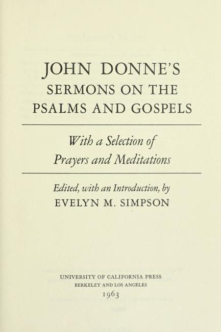 Sermons on the Psalms and Gospels by John Donne