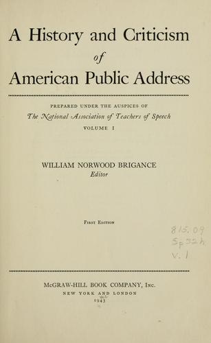 A history and criticism of American public address