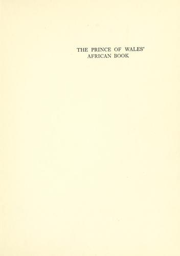The Prince of Wales' African book by Arthur St. John Adcock