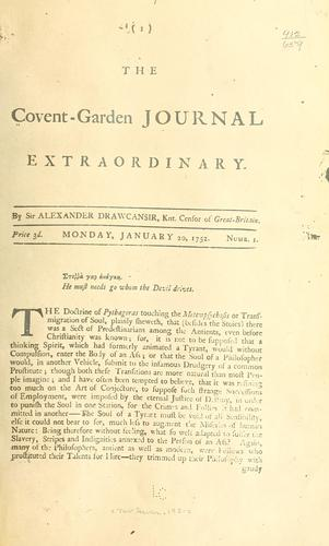 The Covent-Garden journal extraordinary by Thornton, Bonnell