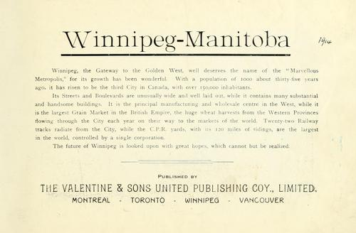 Winnipeg-Manitoba by Valentine & Sons United Publishing Company