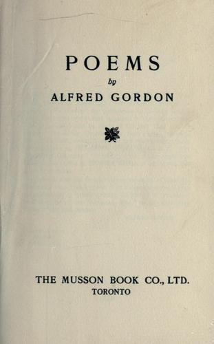 Poems. -- by Gordon, Alfred