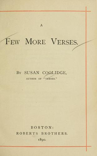 A few more verses by Susan Coolidge