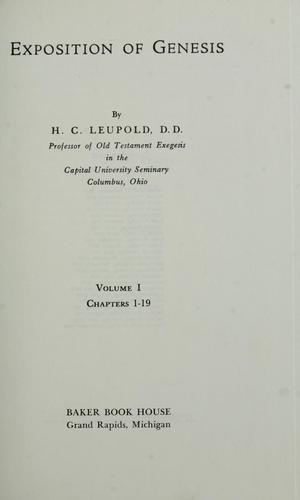 Exposition of Genesis by H. C. Leupold